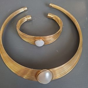Cuff necklace and matching bracelet